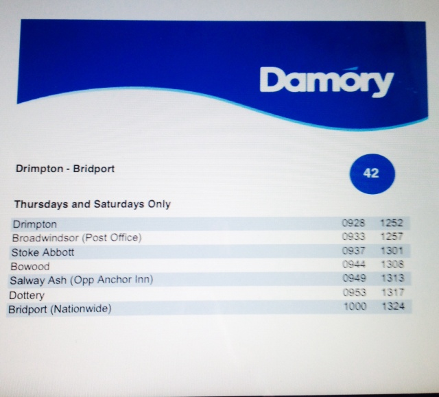 PDF of Damory Timetable, this was on the Website until yesterday (25th June)